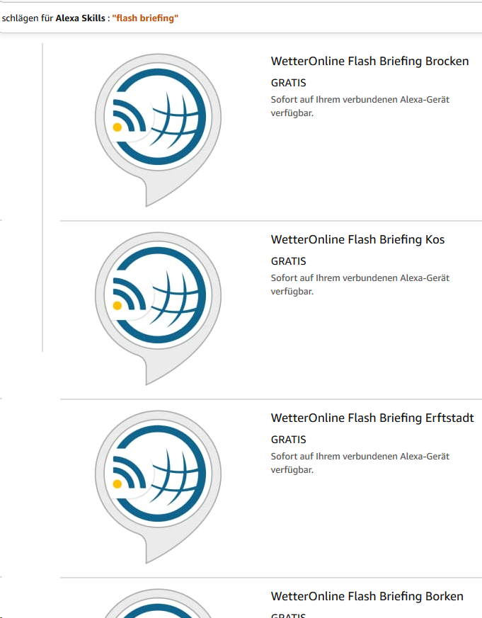 WetterOnline Skills im Alexa Skills Store
